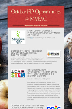 October PD Opportunities @ MVESC