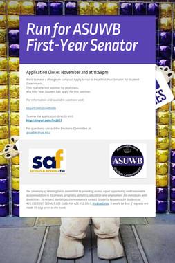 Run for ASUWB First-Year Senator