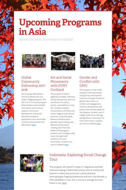 Upcoming Programs in Asia