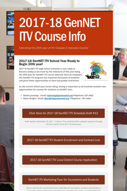 2017-18 GenNET ITV Course Info