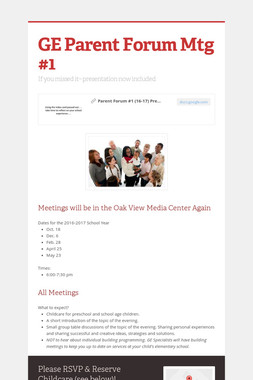 GE Parent Forum Mtg #1