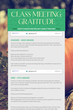 CLASS MEETING: GRATITUDE
