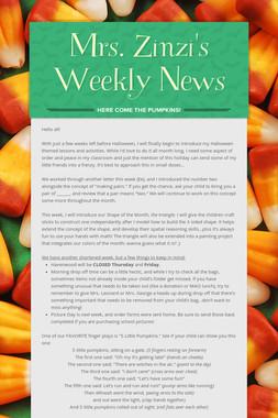 Mrs. Zinzi's Weekly News