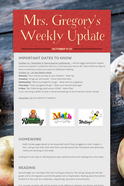 Mrs. Gregory's Weekly Update
