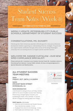 Student Success Team Notes (Week 8)