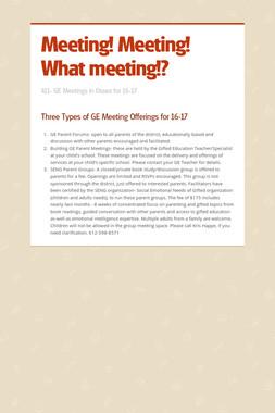 Meeting! Meeting! What meeting!?