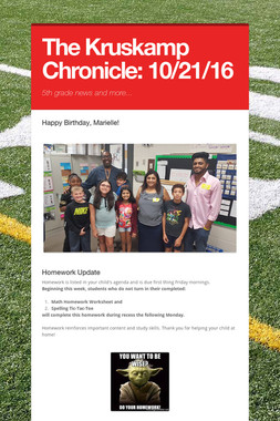 The Kruskamp Chronicle:  10/21/16