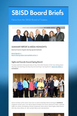 SBISD Board Briefs