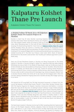Kalpataru Kolshet Thane Pre Launch