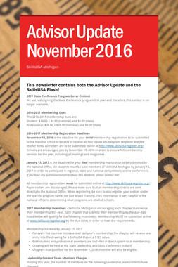 Advisor Update November 2016