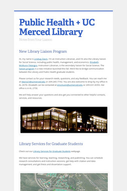 Public Health + UC Merced Library