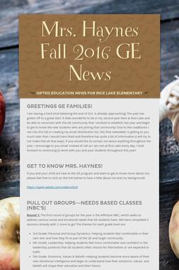 Mrs. Haynes Fall 2016 GE News