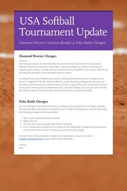 USA Softball Tournament Update