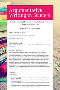 Argumentative Writing in Science