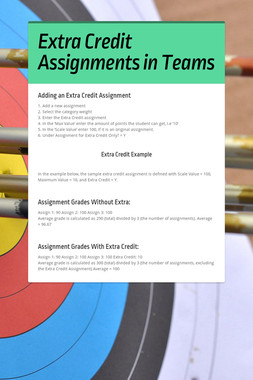 Extra Credit Assignments in Teams