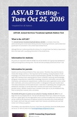 ASVAB Testing-Tues Oct 25, 2016