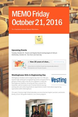 MEMO    Friday October 21, 2016