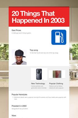20 Things That Happened In 2003