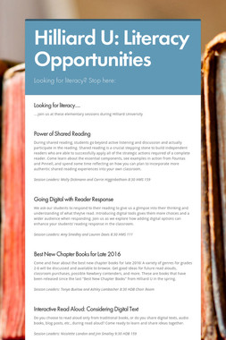 Hilliard U:  Literacy Opportunities