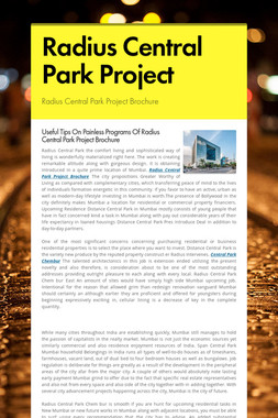 Radius Central Park Project