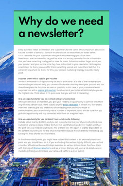 Why do we need a newsletter?