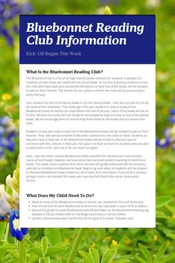 Bluebonnet Reading Club Information