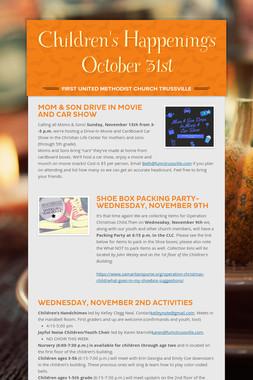 Children's Happenings  October 31st