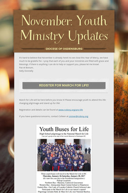 November: Youth Ministry Updates