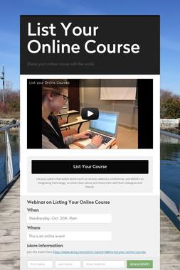 List Your Online Course