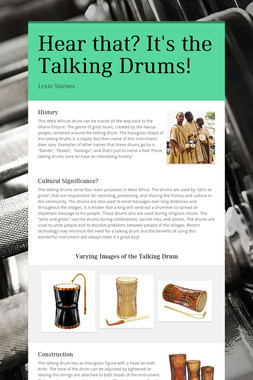 Hear that? It's the Talking Drums!