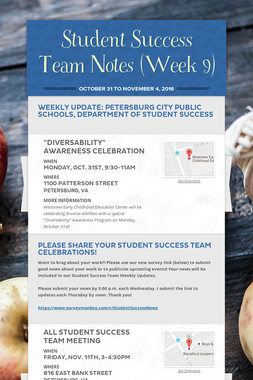 Student Success Team Notes (Week 9)