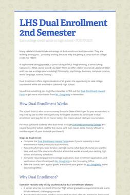 LHS Dual Enrollment 2nd Semester