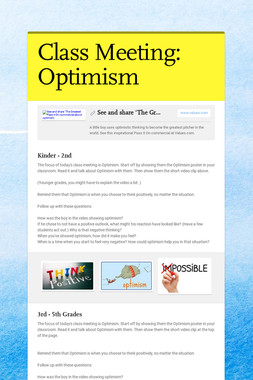 Class Meeting: Optimism