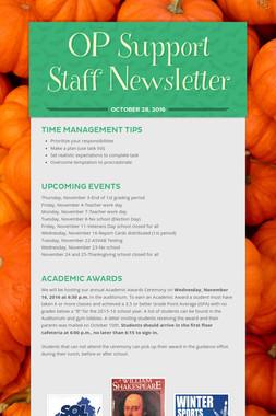 OP Support Staff Newsletter