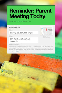Reminder: Parent Meeting Today