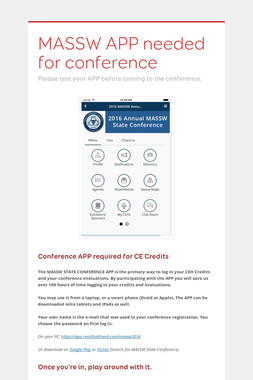 MASSW APP needed for conference