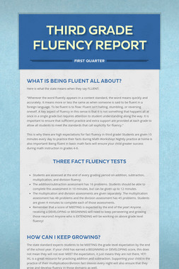 Third Grade Fluency Report