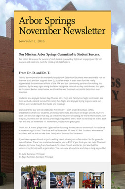 Arbor Springs November Newsletter