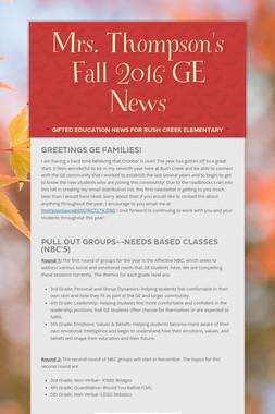 Mrs. Thompson's Fall 2016 GE News