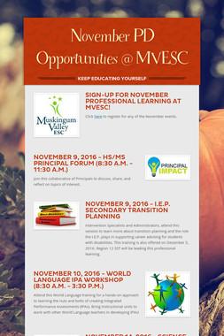 November PD Opportunities @ MVESC
