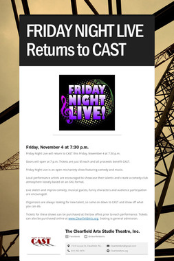 FRIDAY NIGHT LIVE Returns to CAST