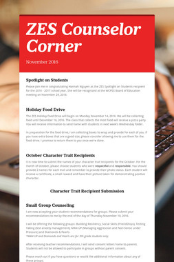 ZES Counselor Corner