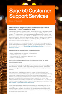Sage 50 Customer Support Services