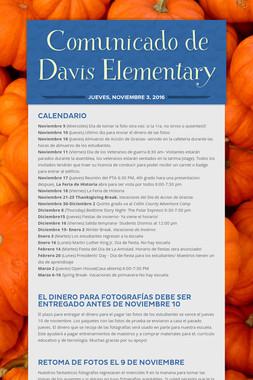 Comunicado de Davis Elementary