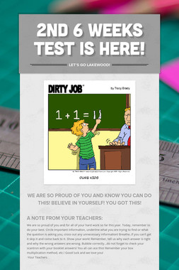 2nd 6 Weeks Test is Here!