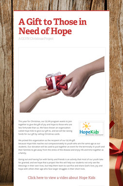 A Gift to Those in Need of Hope