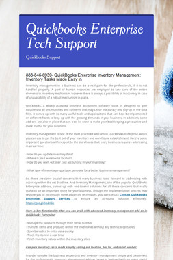 Quickbooks Enterprise Tech Support