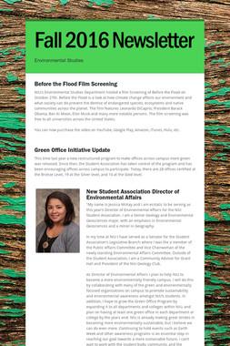 Fall 2016 Newsletter