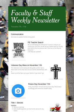 Faculty & Staff Weekly Newsletter