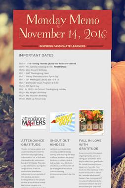 Monday Memo November 14, 2016